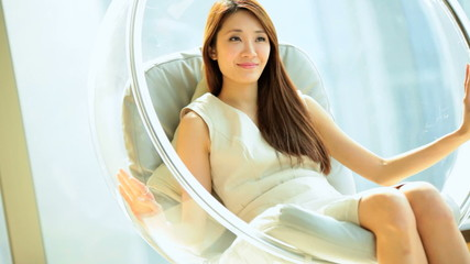 Asian Chinese Female Relaxation Designer Chair Luxury Apartment Lifestyle