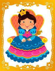 cartoon queen and golden frame