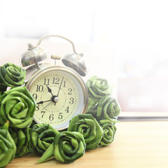 Vintage Clock and green roses made fron leafe