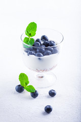 Yogurt with fresh blueberry and muesli