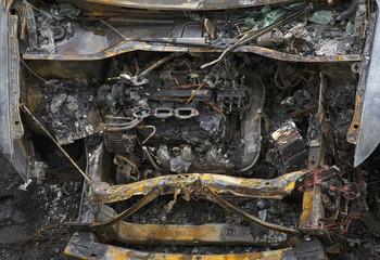 Burned-down car background