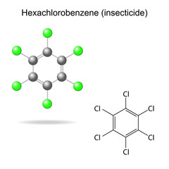 Hexachlorobenzene - model and formula of insecticide
