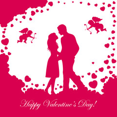 Valentines background with loving couple