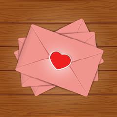 Set of Valentines on wooden background