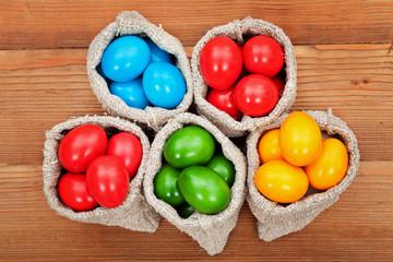 Easter eggs in burlap bags