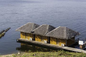 Houseboat in the River at Srinakarin Dam, Kanchanaburi, Thailand