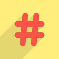 red hashtag icon with long shadow