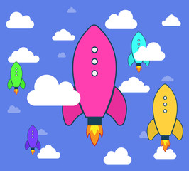 Rockets and white clouds, icon in flat style