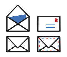 Enveloppes courrier picto vecteurs