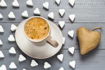 Valentine cup coffee boards sugar cubes heart