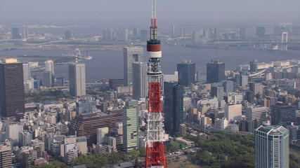 Aerial Tokyo communications and observation Tower Rainbow Bridge Japan