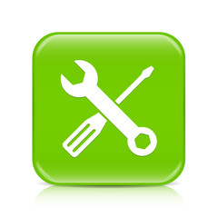 Light green screwdriver & spanner button icon with reflection
