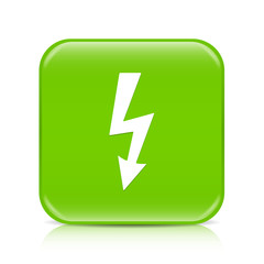 Light green lightning arrow button icon with reflection
