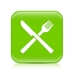 Light green knife and fork button icon with reflection