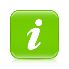 Light green i button icon with reflection