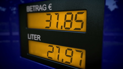 Zoom in on German gas pump display starts fueling at 36 Euros