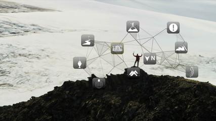 Mountain Climbing Rocky Terrain American Male Graphic Information Apps CG