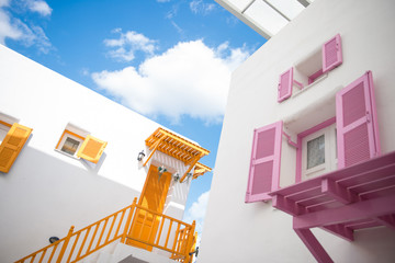 colorful house santorini style