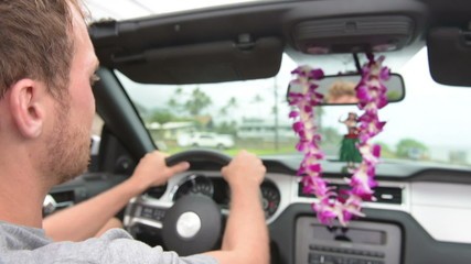 Driver driving car on Hawaii travel - Hula doll