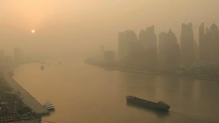 Sunrise Financial District Shanghai Huangpu River China