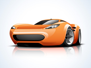 Glossy high speed sports car design.