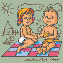 boy and girl on mat