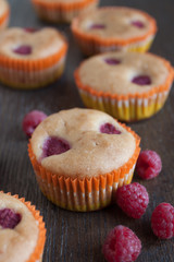 Homemade muffin with raspberries