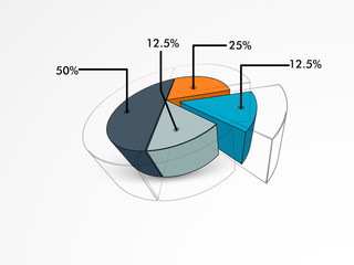 Business infographics layout with statistics and pie chart.