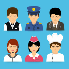 Set of different professions avatars on blue background.
