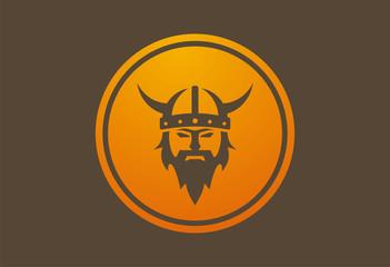 Viking circle icon logo vector