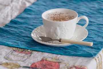 Traditional cappuccino with cardamom and cinnamon