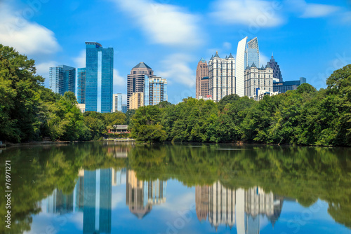 Skyline and reflections of midtown Atlanta, Georgia - 76971271