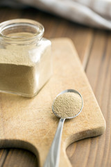 dry yeast in spoon