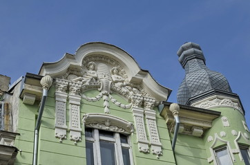 Ancient renovated building with rich decoration in Ruse