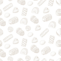 Vector seamless background with chocolates