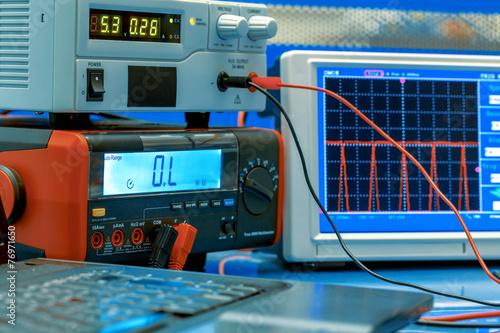 Leinwandbild Motiv electronic measuring instruments in hitech computer laboratory