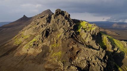 Aerial Icelandic Region Highlands  Wilderness Volcanic Rocky Peaks Green Travel