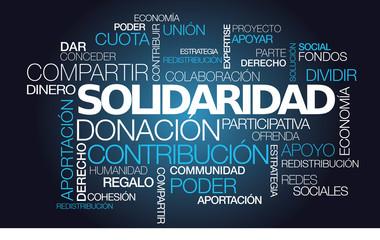 Solidaridad donación contribución palabras nube de etiquetas