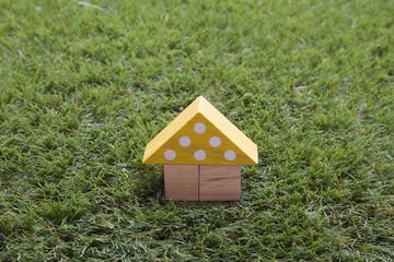 芝生と積み木の家
