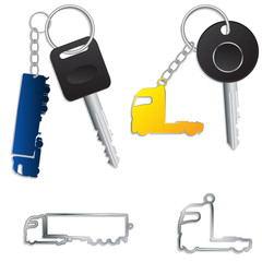 Semi truck key holders with keys and chains