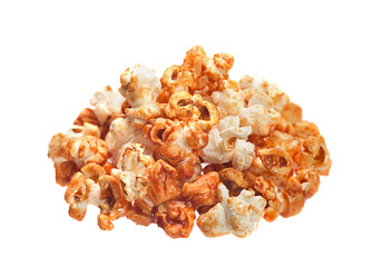 Popcorn in caramel isolated
