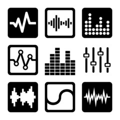 Soundwave Music Icons Set on White Background. Vector