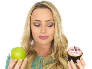 Young Woman Comparing Good and Bad Food