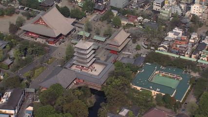 Aerial Senso ji Temple Thunder Gate Shinto shrine  Tokyo Japan