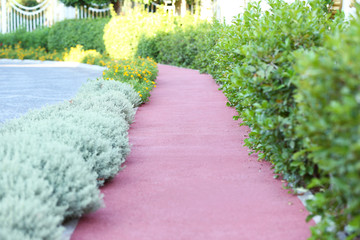 Landscaping of walkway in park