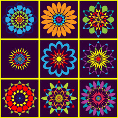 Background colorful geometric pattern of flowers. Bright colors