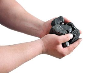 Coal in the miner's hands