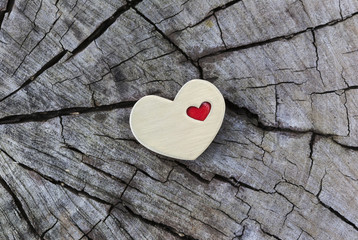Golden Heart with Small Red Heart on Wood