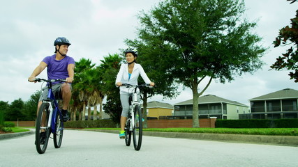 Healthy Lifestyle Cycling Young Ethnic Couple