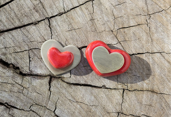 Two Hearts on Wood.